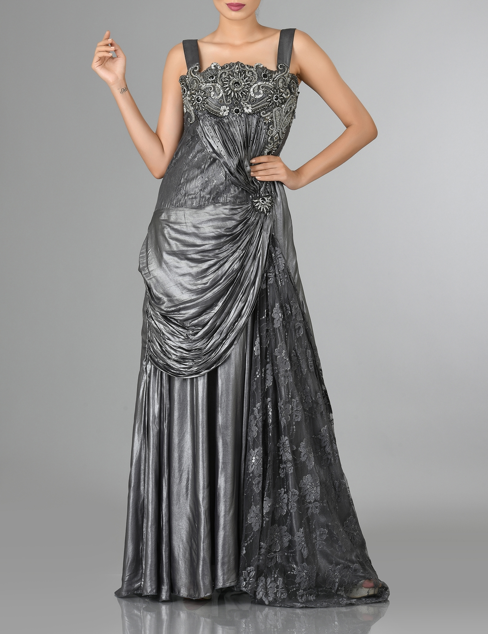 Grey Shimmer Satin Party Gown