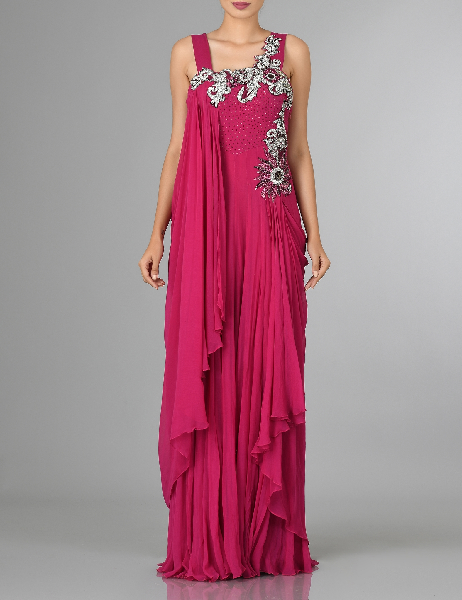Pink Georgette pleated party gown