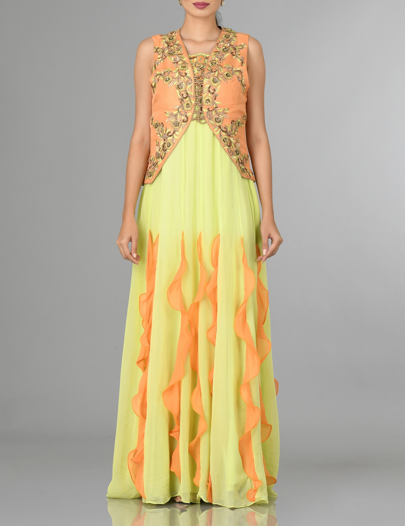 Yellow Gown with Ruffles