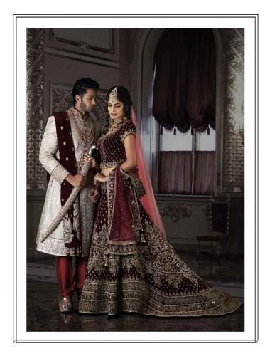 Women- Splendid Maroon Tailed Bridal Lehenga Choli