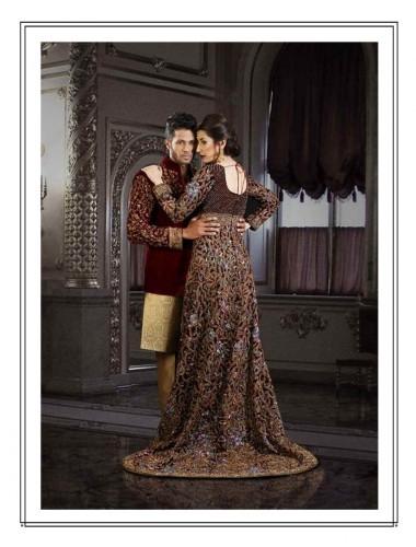 Women- Royal Maroon Velvet Wedding Tail Gown