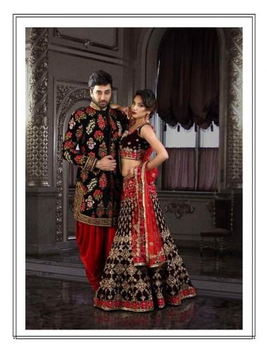 Women- Maroon Velvet Bridal Ghagra choli with Red Dupatta